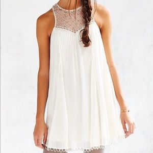Anthropologie chiffon beaded Glynda  dress